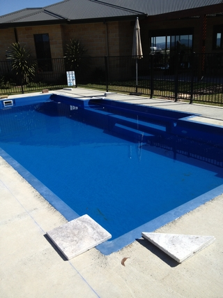 New pool limestone paving